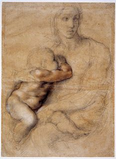 """'Unfinished cartoon for a Madonna and Child' by Michelangelo, depicting a seated woman nursing a child. Seen at The Met, """"Michelangelo: Divine Draftsman and Designer,"""" Michael Angelo, Art Ninja, Phoenix Art Museum, Italian Sculptors, Miguel Angel, Madonna And Child, Chef D Oeuvre, Old Master, Life Drawing"""