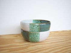 Sea Mist and White Ceramic Soup Bowls  Set of 2 by dorothydomingo, $32.00