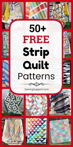 Over 50 free patterns, tutorials, and diy sewing projects for strip quilts - many great for use with inch jelly roll fabric bundles. Quilting For Beginners, Quilting Tutorials, Quilting Designs, Strip Quilt Patterns, Jelly Roll Quilt Patterns, String Quilts, Jellyroll Quilts, Sewing Patterns Free, Free Sewing