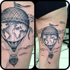 Tattoo tatuaggio mongolfiera mappamondo