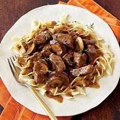 Steak Tips with Peppered Mushroom Gravy Recipe   MyRecipes.com