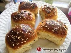 Great recipe for Raisin rolls by Golfo. These are simply amazing! Recipe by golfo Greek Bread, Greek Cake, Greek Desserts, Greek Recipes, Cooking Cake, Cooking Recipes, Raisin Recipes, Crepes And Waffles, Greek Cooking