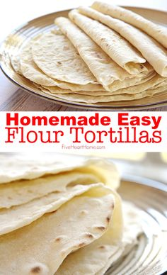 Soft, tender Homemade Flour Tortillas are deliciously versatile and a surprisingly easy recipe with just five simple ingredients! snacks with tortillas EASY Homemade Flour Tortillas ~ so soft! Recipes With Flour Tortillas, Homemade Tortillas, Recipes With Flour Easy, Yeast Free Recipes, Yeast Free Breads, How To Make Tortillas, Gluten Free Tortillas, Bread Recipes, Homemade Taco Shells