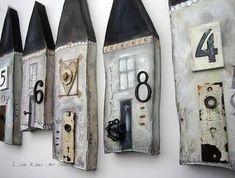 House numbers by Lisa Kaus Art Studios by terrie Clay Houses, Ceramic Houses, Ceramic Clay, Ceramic Pottery, Wooden Houses, Ceramic House Numbers, Slab Ceramics, Pottery Houses, Kids Clay