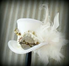 White Rabbit in Red and Gold, Alice in Wonderland Hat, Mad Hatter Hat, Cog and… Mad Hatter Party, Mad Hatter Tea, Mad Hatters, Alice Tea Party, Tea Party Hats, Steampunk Hat, Steampunk Wedding, Alice In Wonderland Hat, White Rabbit Costumes
