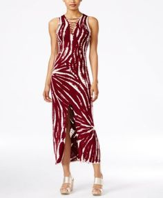 Material Girl Juniors' Tie-Dyed Lace-Up Maxi Dress, Only at Macy's | macys.com