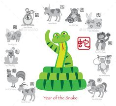 Chinese New Year Snake Color with Twelve Zodiacs Illustration by jpldesigns. Chinese New Year of the Snake Color with Twelve Zodiacs with Chinese Text Seal in Circle Grayscale Illustration