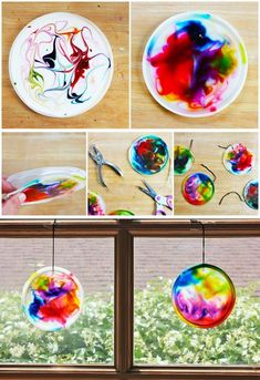 food art for kids crafts Suncatcher craft for kids made from glue, food coloring, and recycled plastic lids BABBLE DABBLE DO Easy Crafts For Kids, Summer Crafts, Toddler Crafts, Crafts To Do, Projects For Kids, Diy For Kids, Craft Projects, Craft Ideas, Children Crafts