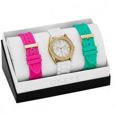 Guess dameshorloge Rock Candy W0350L1. Dameshorloge van Guess. De band van het horloge is van siliconen. Dit draagt ontzettend prettig. de banden die er bijgeleverd worden, zijn eveneens van siliconen. Een echt Rock horloge. Frisse, heldere kleuren in combinatie met de gouden kast. Simpel en stoer!