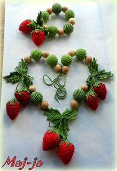Items similar to Strawberry Necklace , wooden necklace with strawberries Fashion crochet necklace, Mother's Day Gift on Etsy Crochet Toys, Knit Crochet, Crochet Strawberry, Nursing Necklace, Crochet Accessories, Crochet Flowers, Jewelry Crafts, Crochet Projects, Crochet Earrings