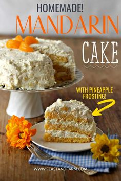 Oranges and pineapple make this the most flavorful cake you've ever had! Serve this for Easter lunch or during the summertime. Always moist and never dry, you might actually feel like you are walking on sunshine. Easy Homemade Desserts, Homemade Cake Recipes, Best Cake Recipes, Real Food Recipes, Easy Recipes, Dessert Recipes, Mandarin Cake, Easter Lunch, Spring Cake