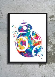 Star Wars Art bb 8 Watercolor Print Star Wars Painting Star Wars The Force Awakens Poster BB 8 print Children's room boy gift Fantastic art