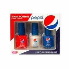 Pepsi Nail Polish Set of 3 Drinks Logo, Fun Drinks, Beverages, Pepsi Cola, Coke, Irish Cake, Cola Wars, Peach Ice Tea, Starbucks Secret Menu