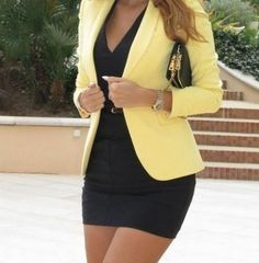 Little black dress instantly looks more put together with a pop of a colored blazer. In this outfit,see the bkack dress with the yellow blazer.Looks classy,elegant,but be careful on colors,not every color fits another. Mode Outfits, Fashion Outfits, Womens Fashion, Blazer Fashion, Fashion Clothes, Fashion Models, Fashion Coat, Clothes Women, Dress Clothes
