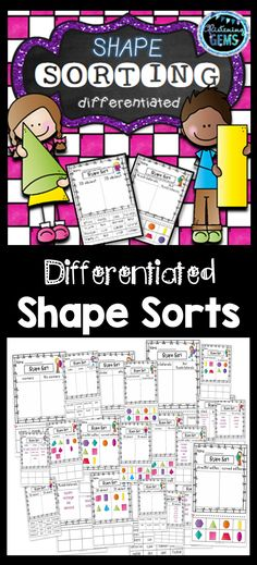 Shape Worksheets consists of sorting 2D and 3D shapes in a variety of ways. The differentiated sorting activities reinforces shape recognition, curved and straight edges, corners, shapes that roll and stack, quadrilaterals and real life 3D objects.