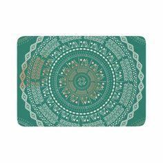 "Famenxt ""Mint Medallion"" Mint Pattern Memory Foam Bath Mat"