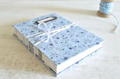 Handmade Journal, sketchbook, diary, notebook -Exposed spine blue floral design