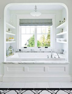 Love the shelving, this could work for our master tub area Marcus Design: {bathroom inspiration: the panelled tub}