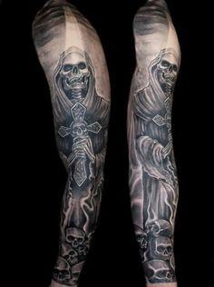 cool Volle Ärmel Grim Reaper Tattoo Für Männer