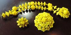 Miriam Haskell Marked Lemon Yellow Flower Pin & Double Row Bracelet from Estate #MiriamHaskell