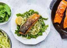 Earl Grey Pan Glazed Salmon with Lemon and Parmesan Courgetti (zucchini) Seafood Dishes, Fish And Seafood, Seafood Recipes, Salmon Recipes, Veggie Recipes, New Recipes, Healthy Recipes, Fish Recipes, Dinner Recipes