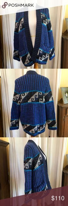"""Free People Tribal Print Cardigan Size Small Free People Cardigan in Blue Black Cream Pattern Size Small.  NWT.  Retail:  $168.  Oversize fit with pockets!  Super warm and cozy.  Color is truest on dress form and is not as bright as it looks in measurement pics.  Love this piece!   Measurements (approx):  Bust:  20"""" Length:  28""""  Fabric: 70% Acrylic 30% Wool  Questions and reasonable offers welcome!   Thank you for visiting my closet and shopping with me! Free People Sweaters Cardigans"""