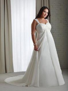 e97790c9c97 A-line Sweetheart Applique Sleeveless Court Trains Chiffon Wedding Dress Robe  Style Empire