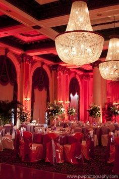 red and amber uplighting wedding | red can sometimes be overwhelming with uplighting but it works here ...