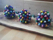 3 colorful pinecones for  christmas decor