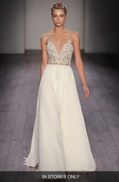 Hayley Paige 'Teresa' T-Strap Back Embellished Chiffon A-Line Gown (In Stores Only) available at #Nordstrom