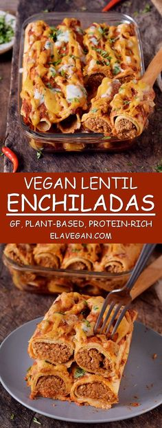 These protein-rich vegan enchiladas are made with lentils and other wholesome ingredients. They are gluten-free plant-based healthy easy to make nut-free perfect for lunch or dinner and very tasty. - April 28 2019 at Vegan Enchiladas, Gluten Free Enchiladas, Mexican Food Recipes, Whole Food Recipes, Cooking Recipes, Yummy Recipes, Cheap Recipes, Supper Recipes, Family Recipes