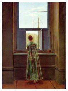 Caspar David Friedrich: Woman at a Window, 1818 https://www.khanacademy.org/humanities/becoming-modern/romanticism/romanticism-in-germany/v/caspar-david-friedrich-woman-at-a-window-1822