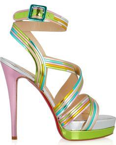 c4a31616bc94 Christian Louboutin Meteorita 140 metallic leather sandals Beautiful Shoes