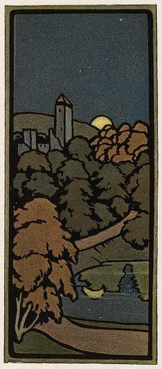 'Dammerung' tapestry design by Paul Burck, produced in 1899.