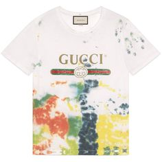 Cotton Tie-Dye T-Shirt With Gucci Print ($550) ❤ liked on Polyvore featuring men's fashion, men's clothing, men's shirts, men's t-shirts, white, mens white shirts, mens patterned t shirts, mens white t shirts, mens tie dye shirts and gucci mens shirts