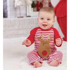 Mud Pie Reindeer One Piece | Shop First Christmas Outfits for Baby at Sugar Babies Boutique!