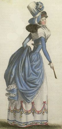 Journal de la Mode et du Gout, June 1790. OMG. The giant hat! The blue! The multicolored embroidery (?) on her petticoat! I want this!