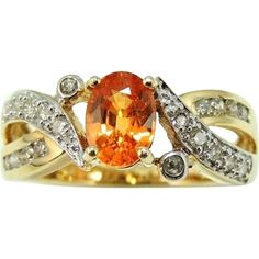 MANDARIN Garnet Diamond Ring 14k Gold Orange offered by Premier-Antiques a Ruby Lane Shop