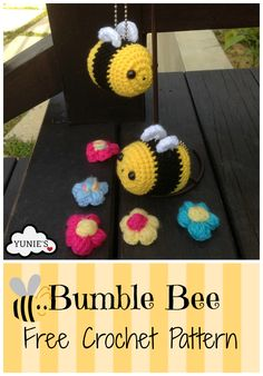 Bumble Bee is an easy projectCompleted bumble bee is approximately 6cm.Materials you need: A 3.5mm crochet HookYarn needleYarn - Yellow, white a