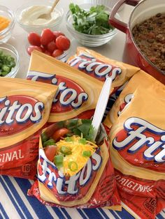 Brace yourself: a Walking Taco is a frito bag filled with flavorful chili and toppings! Tacos in a bag are perfect for any party and so fun to eat! Mexican Food Recipes, Snack Recipes, Snacks, Party Recipes, Cooking Recipes, Super Bowl, Walking Tacos, Taco Ingredients, Gourmet