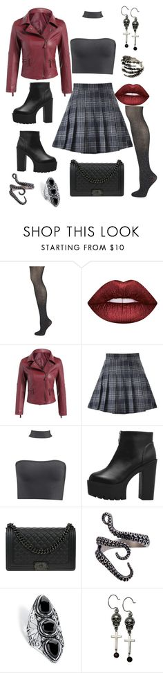 """""""Rhonda"""" by loveisablindwar on Polyvore featuring Wolford, Lime Crime, Chanel, Palm Beach Jewelry and Femme Metale"""