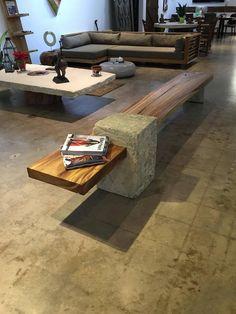 Wood Furniture Legs, Concrete Furniture, Unique Furniture, Industrial Furniture, Rustic Furniture, Furniture Design, Urban Furniture, Concrete Bench, Bench Designs
