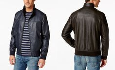 Tommy Hilfiger Faux-Leather Stand-Collar Bomber Jacket - Mens Leather Jackets - SLP - Macy's