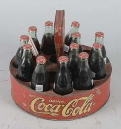 Coca Cola Round Ball Park Carrier With Bottles - 3