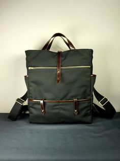 3f0f62cadaab Handmade Bag  The Hudson Backpack in Black Canvas Twill with Leather trims  at hangabag.