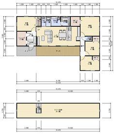30坪4LDK屋根裏収納のある平屋の間取り   理想の間取り One Story Homes, Japanese House, Story House, Home Bedroom, House Plans, Floor Plans, House Design, How To Plan, Interior Design