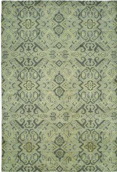 Hand-Woven Green Area Rug