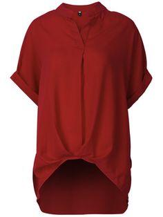 Women Loose Short Sleeve Pure Color Irregular Hem V-Neck T-Shirt