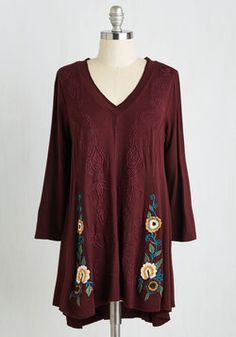 Bordeaux of Directors Top. The casual lunch meeting you organized is as relaxed and elegant as the aubergine top you're sporting! #red #modcloth
