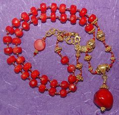 Hand knotted semi precious red coral Swarovski by jancashdesigns1, $326.00